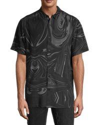 NANA JUDY Men's Printed Short-sleeve Shirt - Marble - Size S - Black