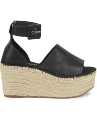 Free People Coastal Platform Wedge Sandals - Black