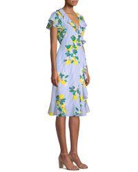 Draper James Collection Lemon Blossom Floral Wrap Dress - Blue
