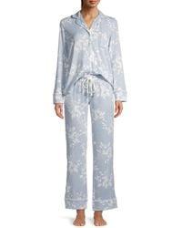 Splendid Women's Print Pyjama 2-piece Set - Tan Leopard - Size Xs - Blue