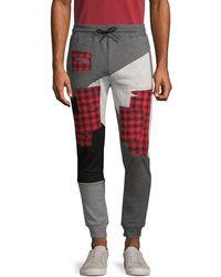 PRPS Patchwork Cotton-blend Jogger Trousers - Grey