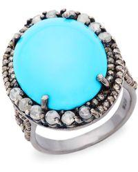 Bavna Diamond Turquoise Sterling Silver Oval Ring - Metallic