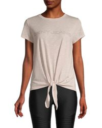 DKNY Women's Tie-front Logo Top - Iconic Blush - Size Xl - Multicolor