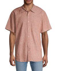 Madewell Perfect-fit Striped Linen-blend Shirt - Pink