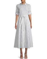 Calvin Klein Belted Stripe Cotton Shirtdress - Multicolour