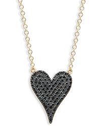 Saks Fifth Avenue 14k Yellow Gold Black Diamond Heart Pendant Necklace - Metallic