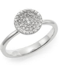 Effy Diamond & 14k White Gold Disc Ring - Metallic