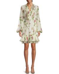 Giambattista Valli Floral-print Silk Mini Dress - White