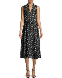 Jones New York - Printed Fit-and-flare Midi Dress - Lyst