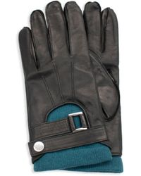 Portolano Men's Belted-cuff Leather Gloves - Black Olive - Size M