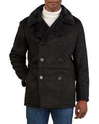 Kenneth Cole Faux Shearling Pea Coat - Black