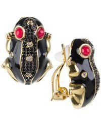 CZ by Kenneth Jay Lane Women's Animal Trend 14k Goldplated & Crystal Earrings - Metallic