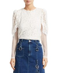 See By Chloé Lace Sheer-sleeve Blouse - Brown