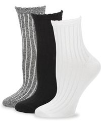 Hue Three-pair Ribbed Sock Set - Black
