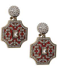 Heidi Daus Goldtone & Crystal Drop Earrings - Multicolour