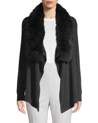Saks Fifth Avenue - Fox Fur Collar Cashmere Cascade Cardigan - Lyst