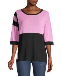 Beatrice B. Colorblock Sequin Zebra Knit Tee - Pink