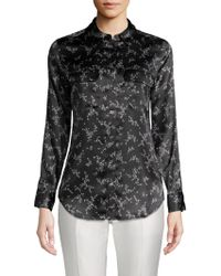 4860b3252c0deb Lyst - Equipment Cultivated Floral Slim Signature Silk Shirt in Black