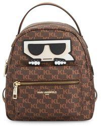 Karl Lagerfeld Logo Zip Backpack - Brown