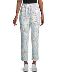 BCBGMAXAZRIA Women's Floral Drawstring Trousers - Skyway - Size Xs - Blue