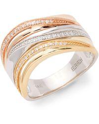 Effy 14k Tri-tone & Diamond Band Ring - Multicolour