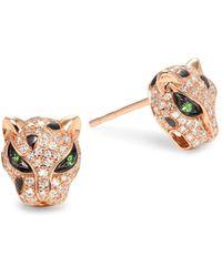 Effy 14k Rose Gold, Tsavorite & Diamond Panther Stud Earrings - Multicolour