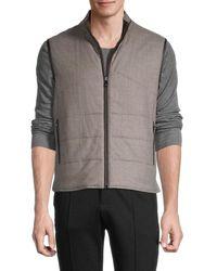 Corneliani Men's Reversible Quilted Virgin-wool Vest - Beige - Size 54 (44) - Natural