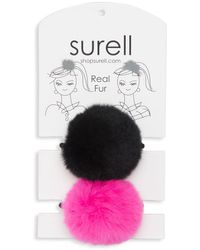 Surell Rabbit Fur Pom Pom Hair Tie - Black