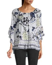 Fever Women's Love Chi Floral Bell-sleeve Top - Fig Peaceful Paisely - Size S - Multicolour