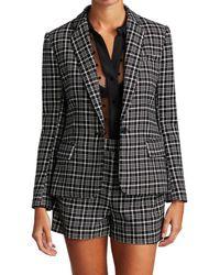 L'Agence Women's Diana Skinny Lapel Plaid Blazer - Black Ivory - Size 6