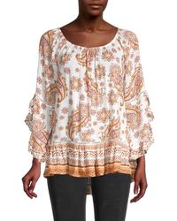 Fever Printed Paisley Flutter-sleeve Top - Multicolour