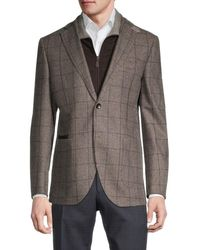 Lubiam Men's Standard-fit Houndstooth Wool Travel Jacket - Brown - Size 50 (40) R