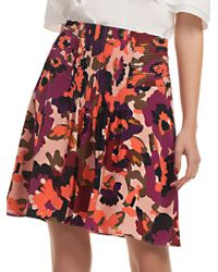Trina Turk Floral Diamond Silk A-line Skirt - Red