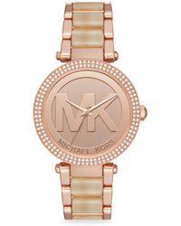 9954052e24d9 Michael Kors - Parker Rose-gold Stainless Steel Bracelet Watch - Rose Gold  - Lyst