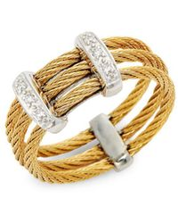 Alor - Diamond 18k Yellow Gold & Stainless Steel Cable Ring - Lyst