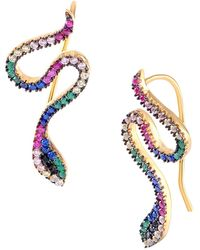 Gabi Rielle 22k Gold Vermeil & Multi-tone Crystal Snake Climber Earrings - Metallic