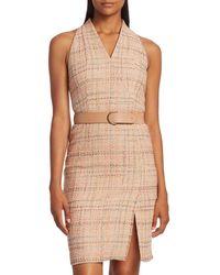 Akris Punto Summer Sleeveless Belted Tweed Dress - Natural