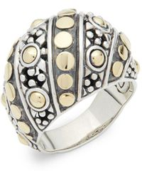 John Hardy - Jaisalmer Gold And Silver Twist Oval Ring - Lyst