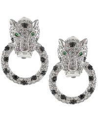 CZ by Kenneth Jay Lane Women's Cubic Zirconia Leopard Door Knocker Earrings - Metallic