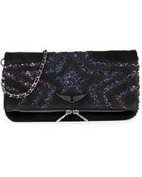 Zadig & Voltaire Rock Star Glitter Shoulder Bag - Black