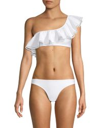 Mouillé Swimwear Two-piece Naomi One-shoulder Ruffled Bikini - White