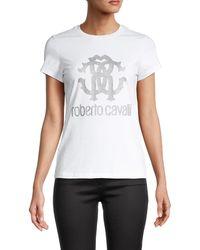 Roberto Cavalli Glitter Logo T-shirt - White