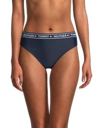 Tommy Hilfiger Women's Logo Band Bikini Bottom - Navy - Size M - Blue