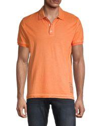Zadig & Voltaire Men's Distressed Cotton Polo - Orange - Size S