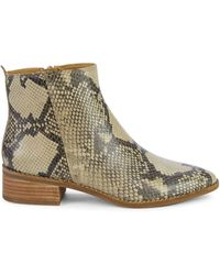 Lucky Brand Letrica Snake-print Leather Chelsea Boots - Natural