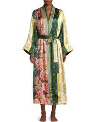 Oscar de la Renta Spruce Floral Patchwork Silk Robe - Green