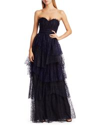 Marchesa Flocked Glitter Tulle Strapless Gown - Blue
