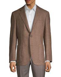 Canali Standard-fit Herringbone Wool Sportcoat - Brown