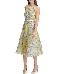 Tommy Hilfiger Floral-print Belted Dress - Yellow