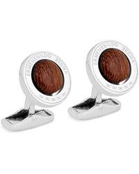 Ermenegildo Zegna Men's Swivel Circle Round Sterling Silver & Wood Cufflinks - Metallic